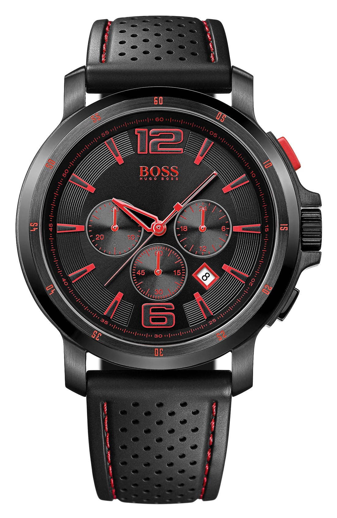 Alternate Image 1 Selected - BOSS HUGO BOSS Rubber Strap Round Watch, 47mm