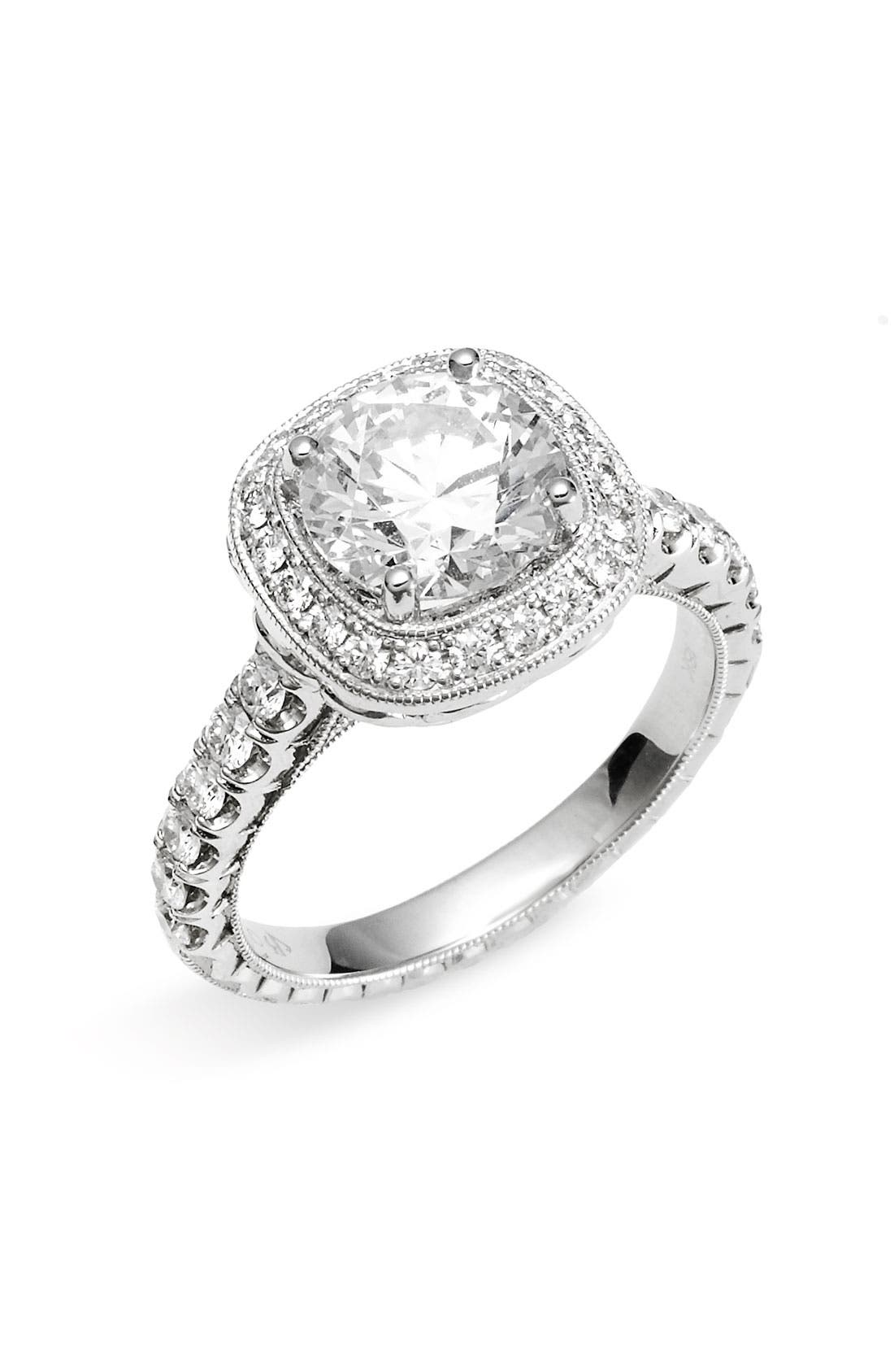 Main Image - Jack Kelége 'Romance' Cushion Set Diamond Engagement Ring Setting