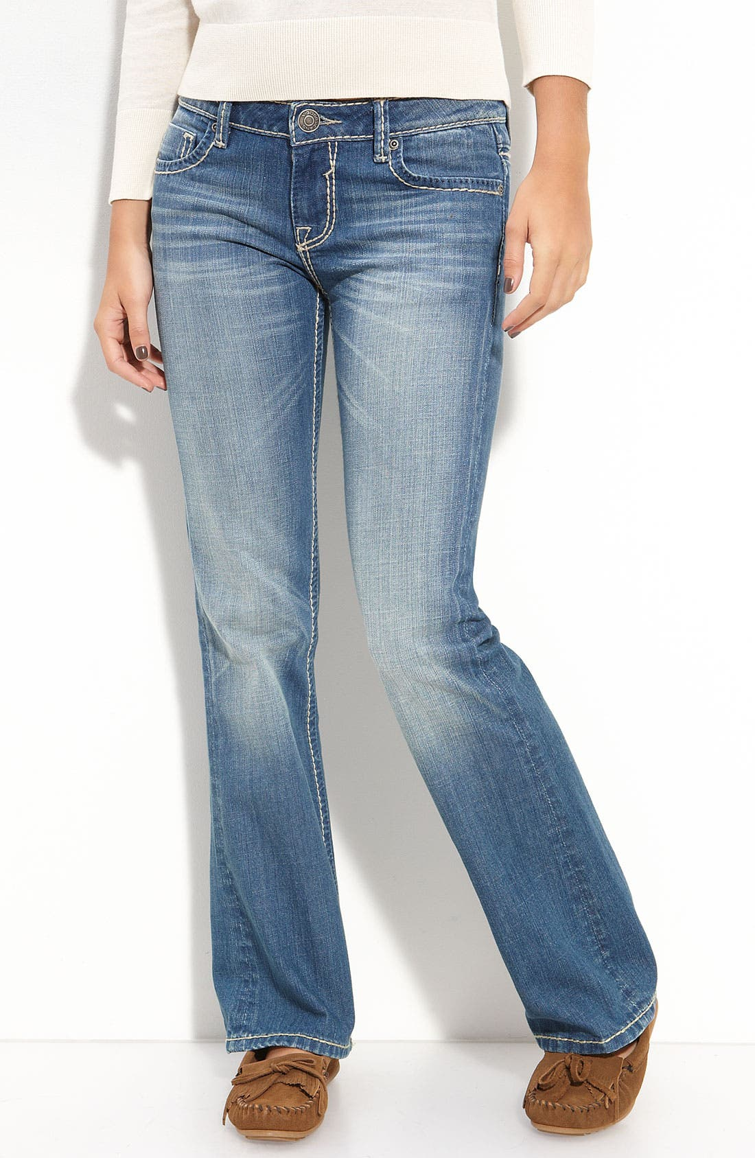 Alternate Image 2  - Vigoss Thick Stitch Bootcut Jeans (Medium) (Juniors)
