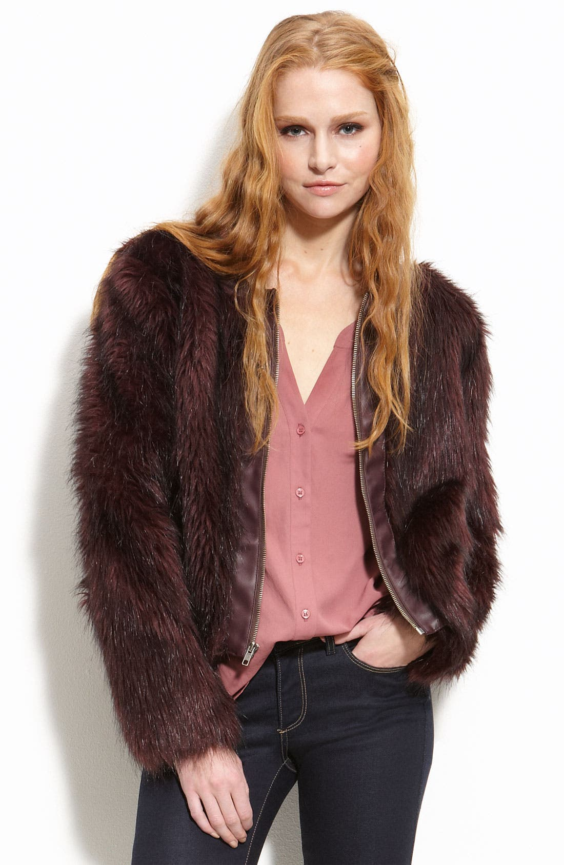Main Image - Willow & Clay Faux Fur Jacket with Faux Leather Trim
