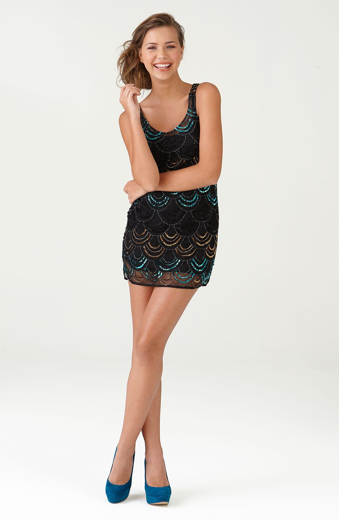 Alternate Image 2  - Angie 'Deco' Scallop Beaded Sleeveless Minidress (Juniors)