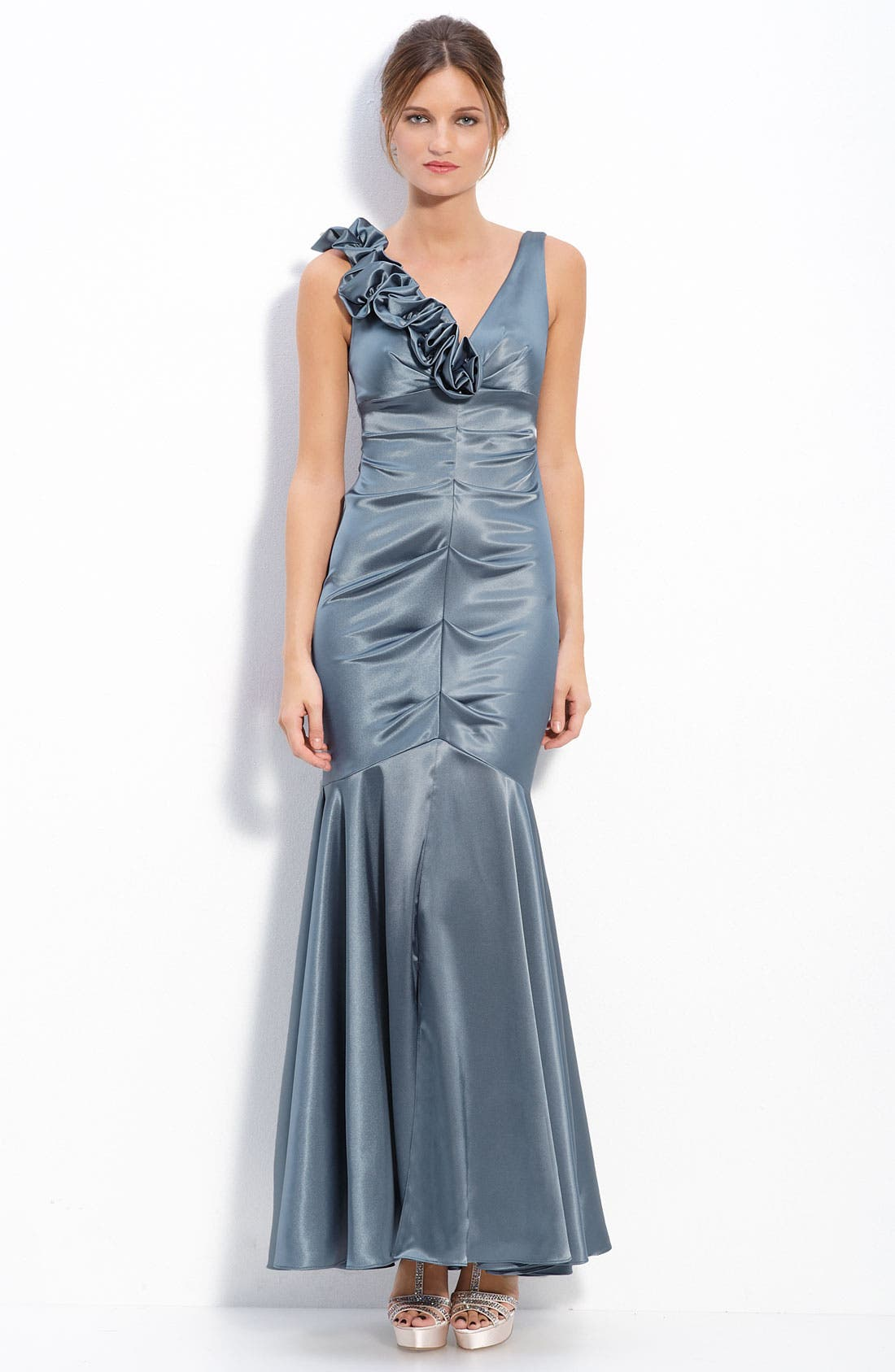 Main Image - Xscape Floral Ruffle Stretch Satin Ruched Mermaid Gown