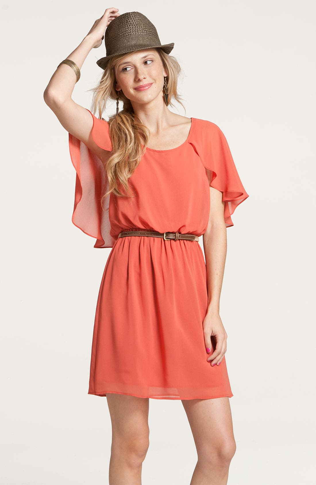 Alternate Image 4  - Lush Cape Sleeve Chiffon Dress (Juniors)