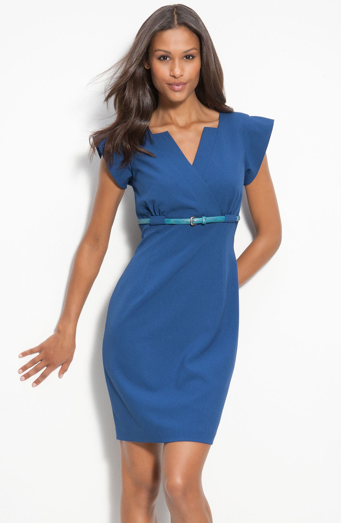 Alternate Image 1 Selected - Calvin Klein Belted Surplice Sheath Dress