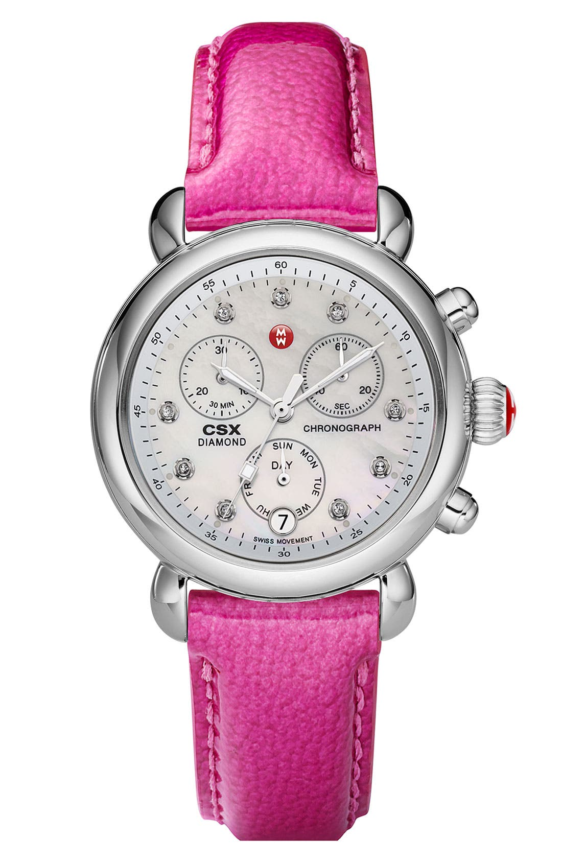 Main Image - MICHELE 'CSX-36' Diamond Dial Watch Case & 18mm Pink Patent Leather Strap