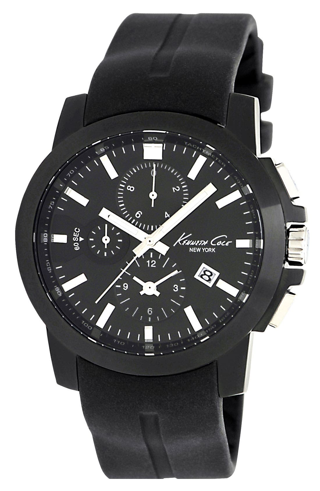 Alternate Image 1 Selected - Kenneth Cole New York Round Silicone Strap Watch