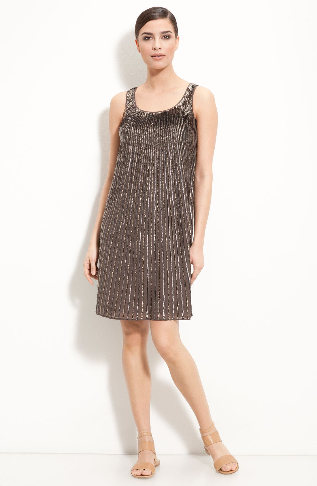 Main Image - St. John Collection Flared Silk Dress with Sequin Trim
