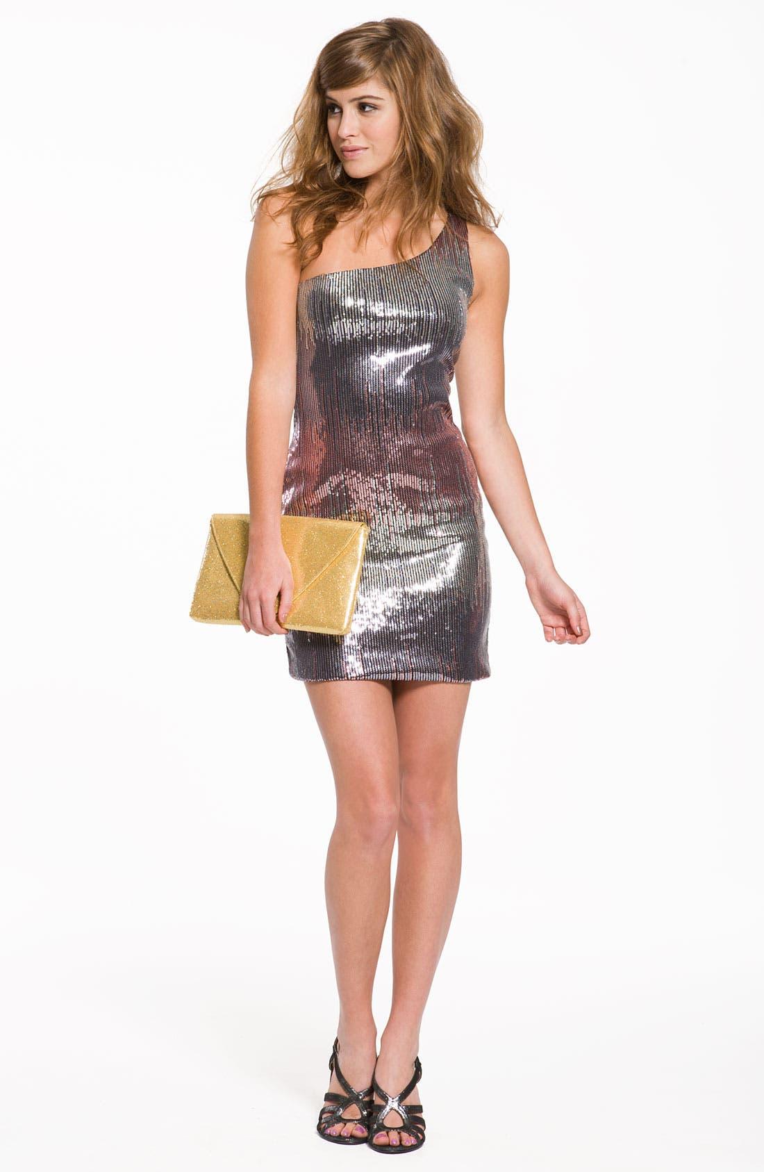 Alternate Image 4  - As U Wish Sequin One Shoulder Dress (Juniors)