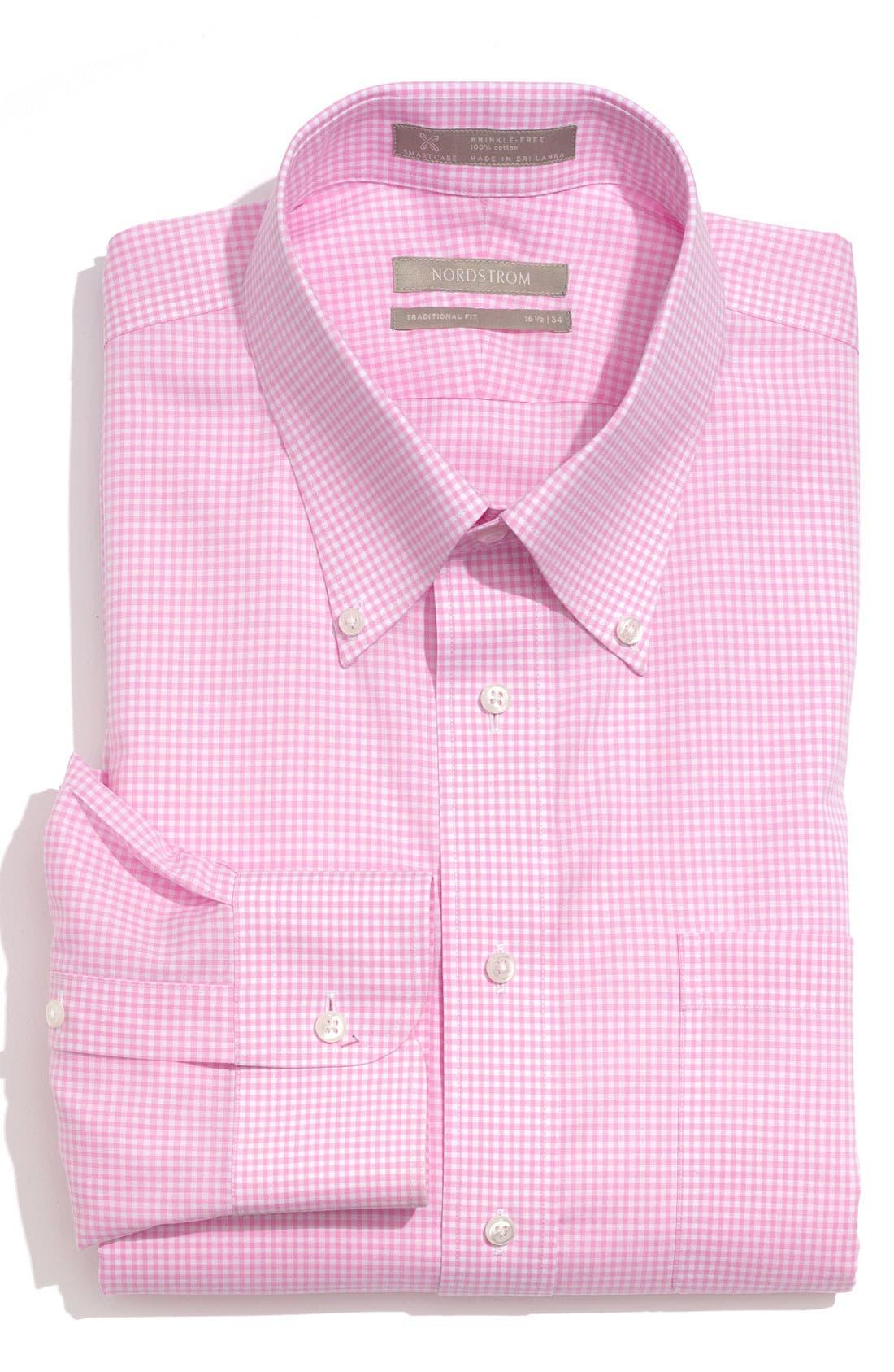 Main Image - Nordstrom Men's Shop Smartcare™ Traditional Fit Gingham Dress Shirt