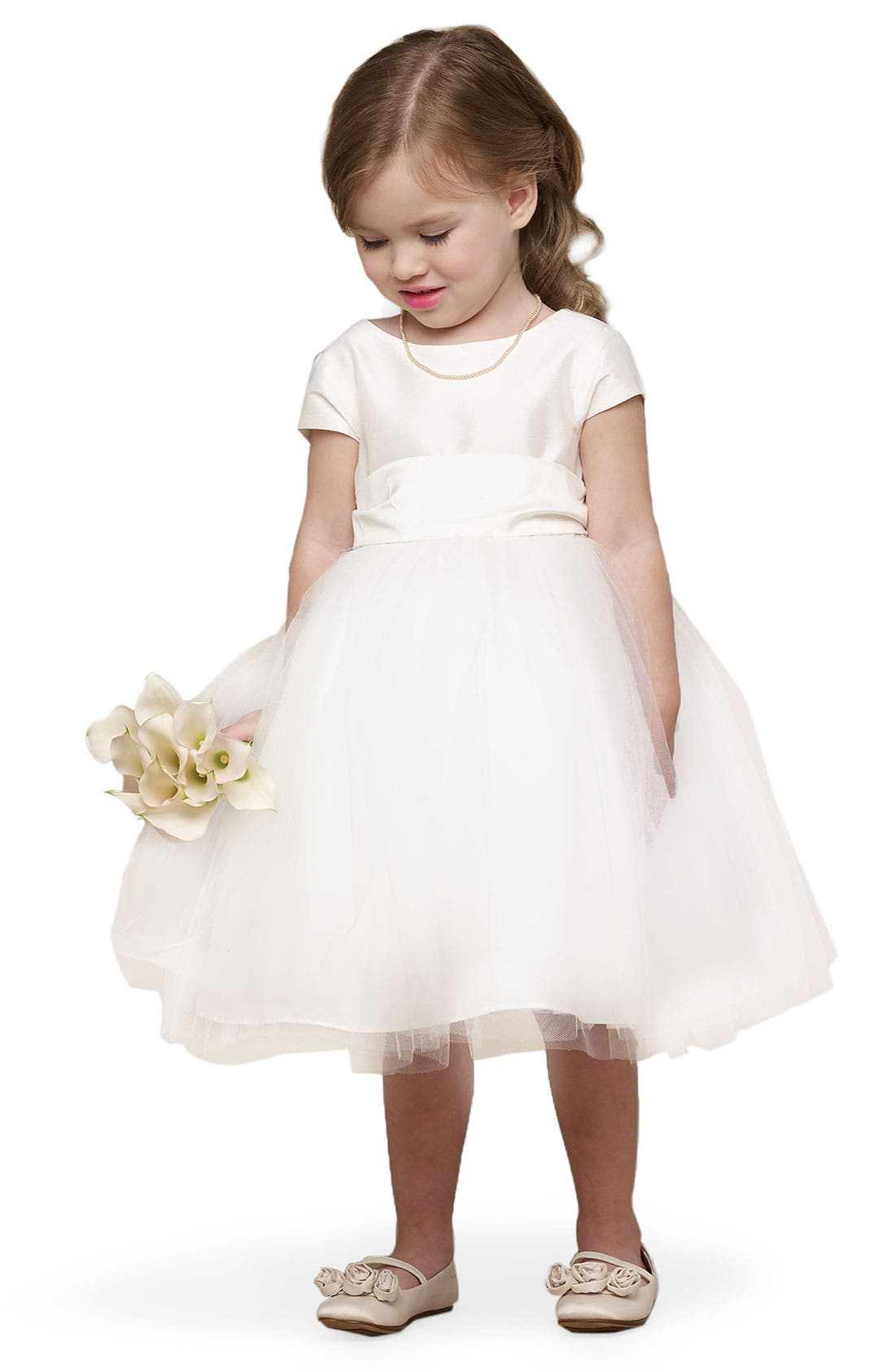 Alternate Image 2  - Us Angels Silk & Tulle Dress (Toddler & Big Girls)
