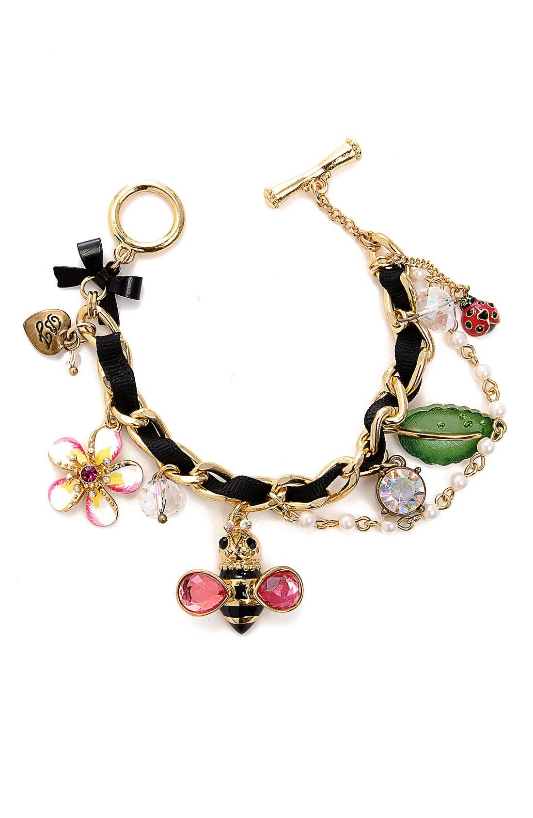 Alternate Image 1 Selected - Betsey Johnson 'Hawaiian Luau' Bumblebee Charm Bracelet