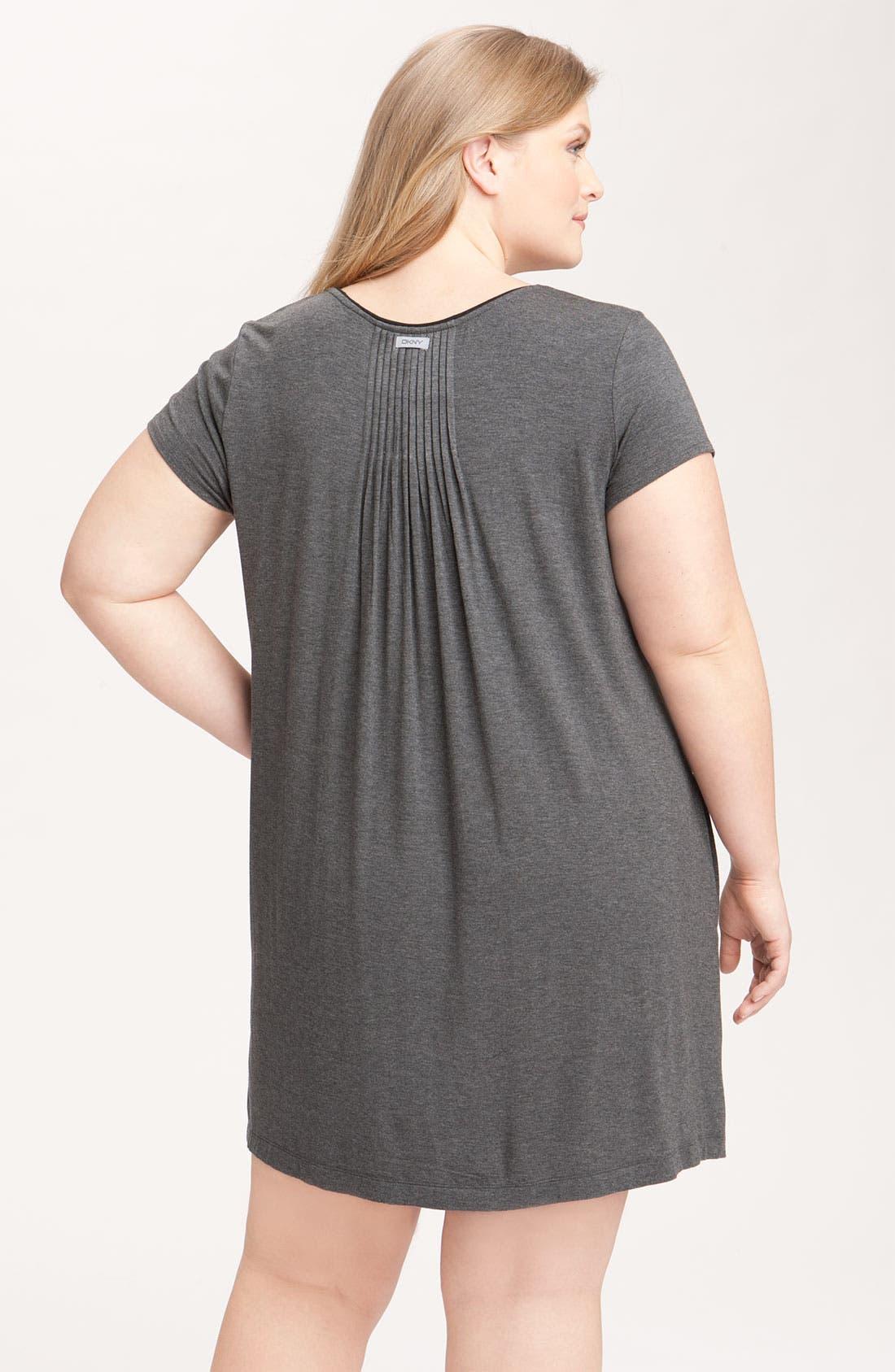 Alternate Image 2  - DKNY '7 Easy Pieces' Pintuck Sleep Shirt (Plus Size)
