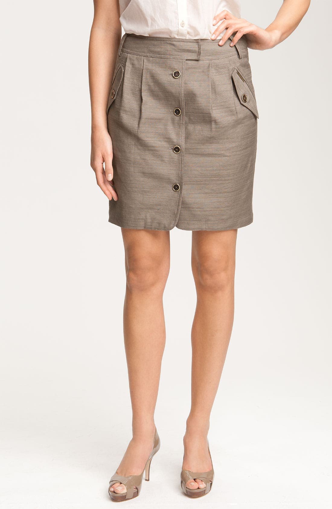 Main Image - Anne Klein Button Front Slub Weave Skirt