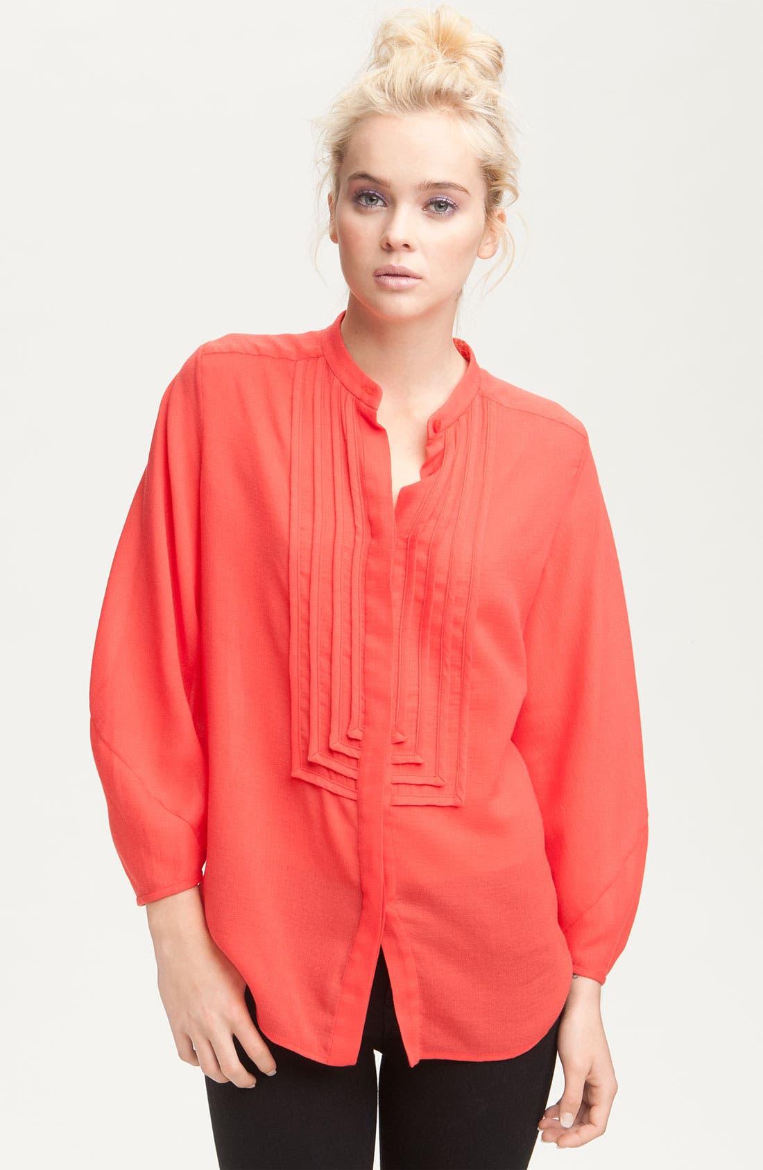Main Image - Diane von Furstenberg 'Hatti' Oversized Mandarin Collar Tuxedo Shirt