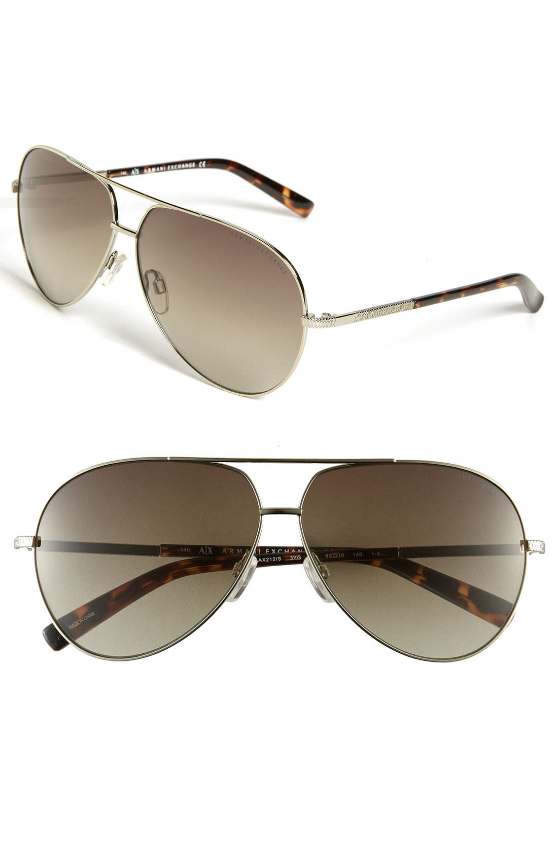 Main Image - AX Armani Exchange Metal Aviator Sunglasses