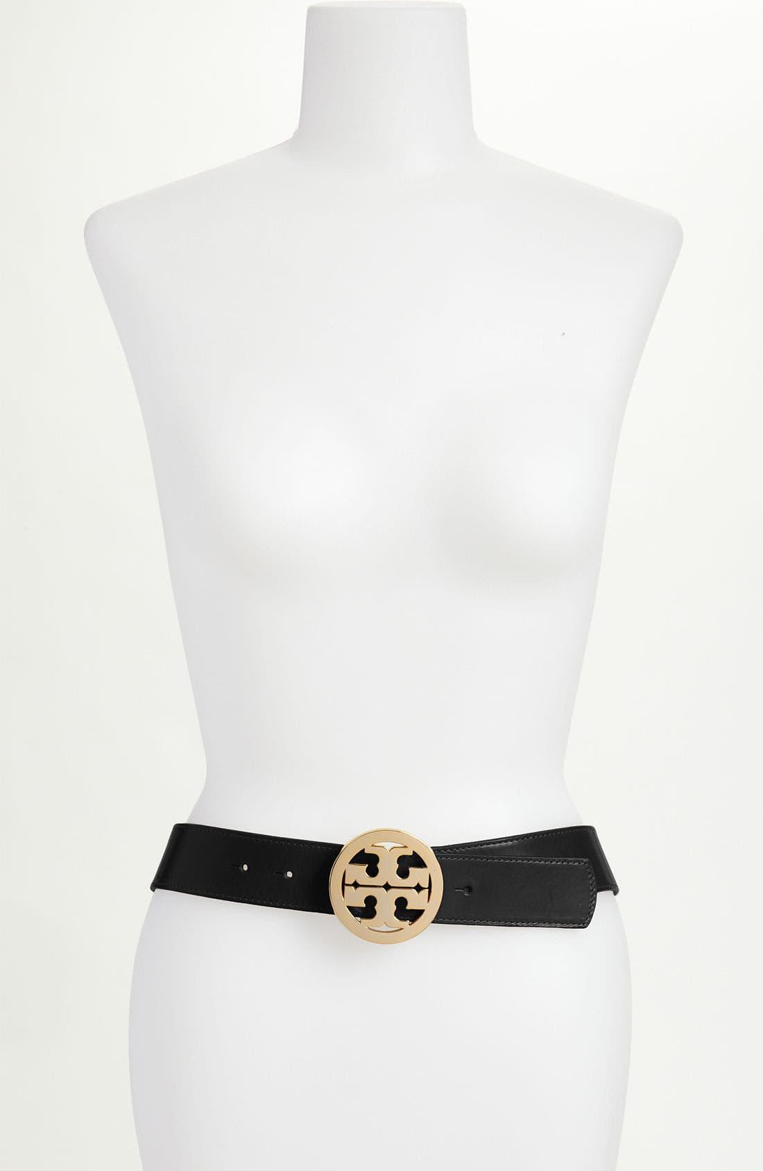 Main Image - Tory Burch 'Logo' Glazed Leather Belt