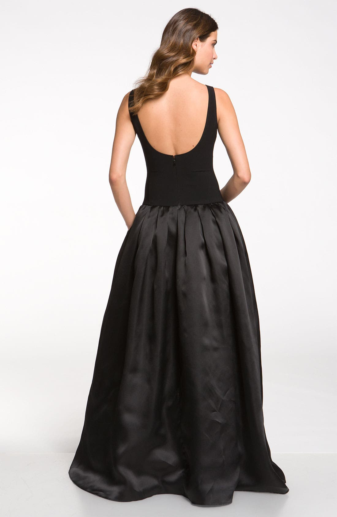 Alternate Image 2  - St. John Collection Crepe Marocain & Organza Gown