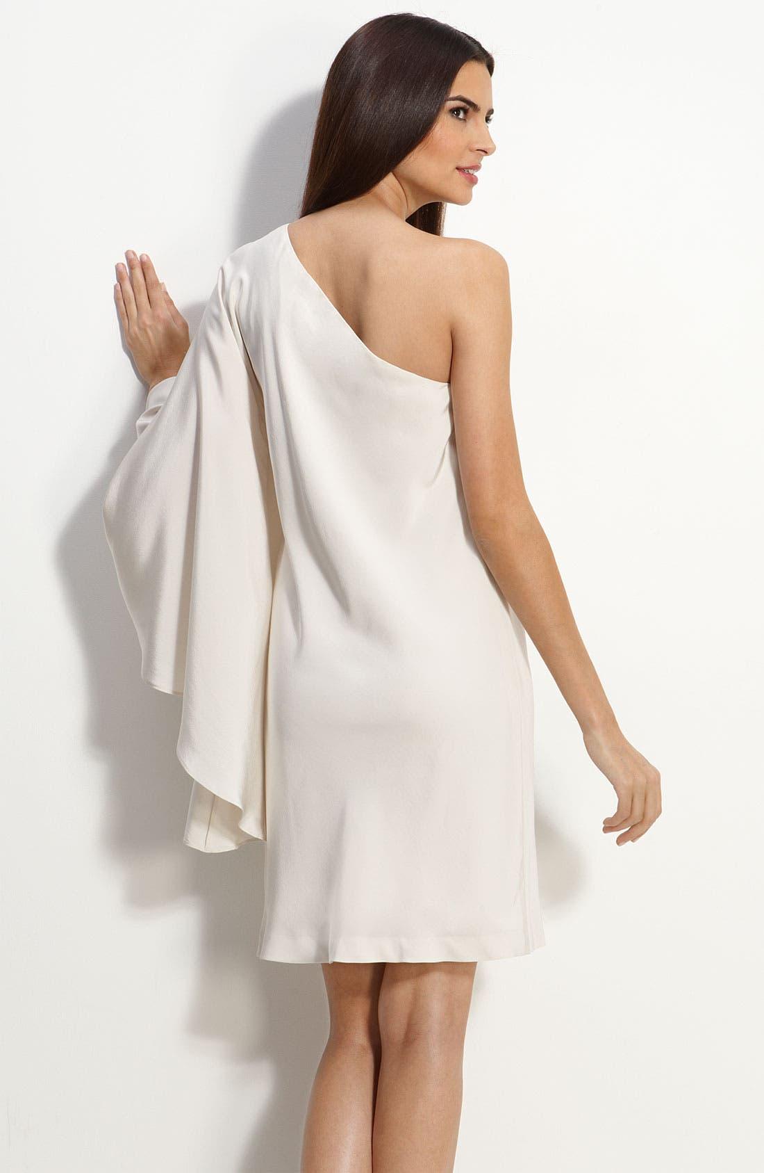 Alternate Image 2  - Nicole Miller Drape Sleeve One Shoulder Dress