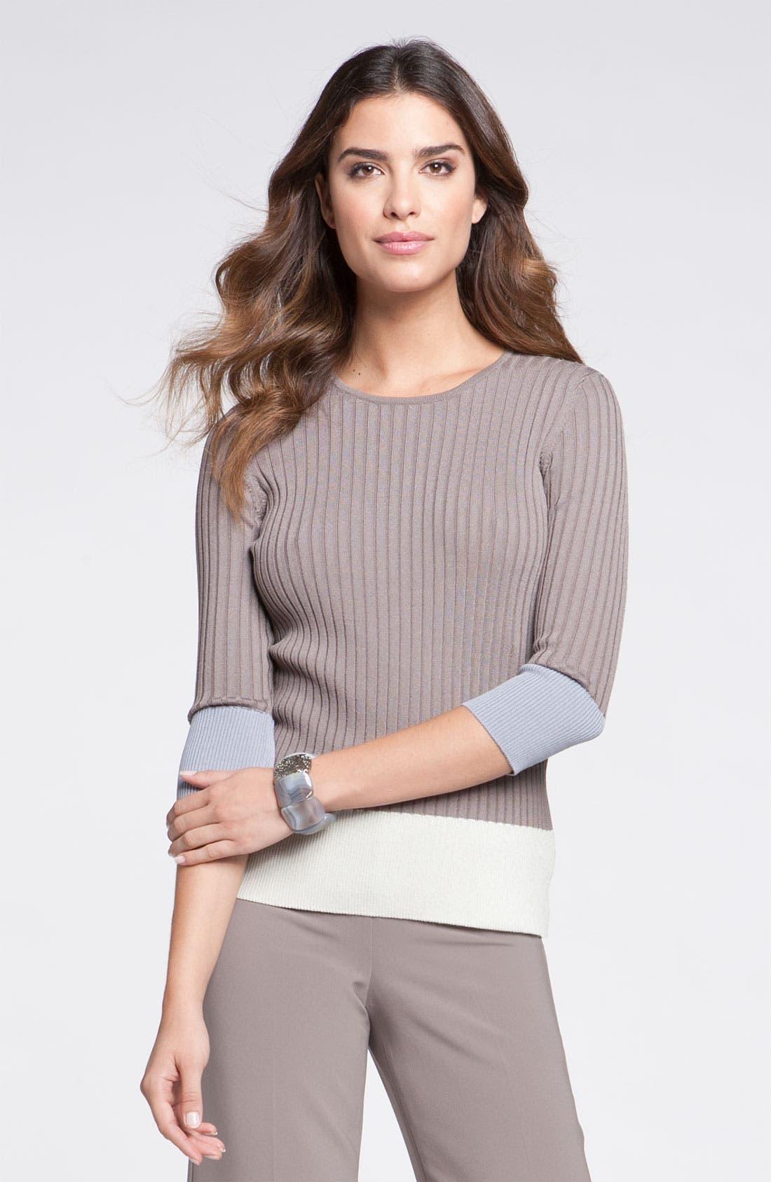 Main Image - St. John Yellow Label Colorblock Rib Knit Sweater