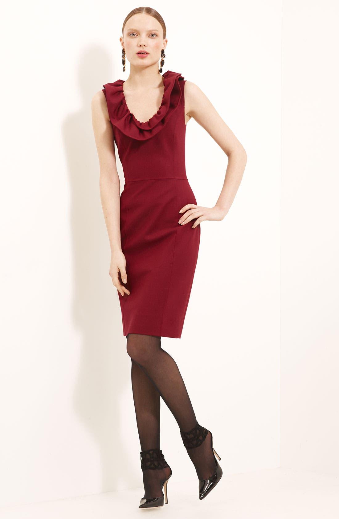 Main Image - Oscar de la Renta Ruffle Collar Stretch Wool Dress