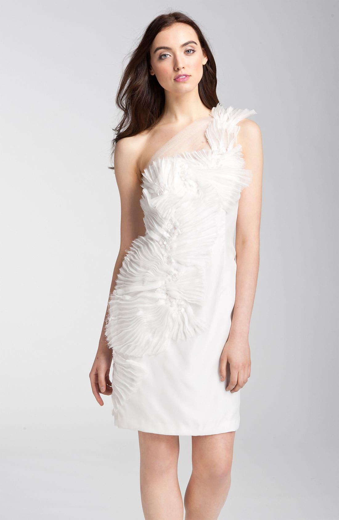 Alternate Image 1 Selected - Kathy Hilton One Shoulder Tulle Overlay Dress