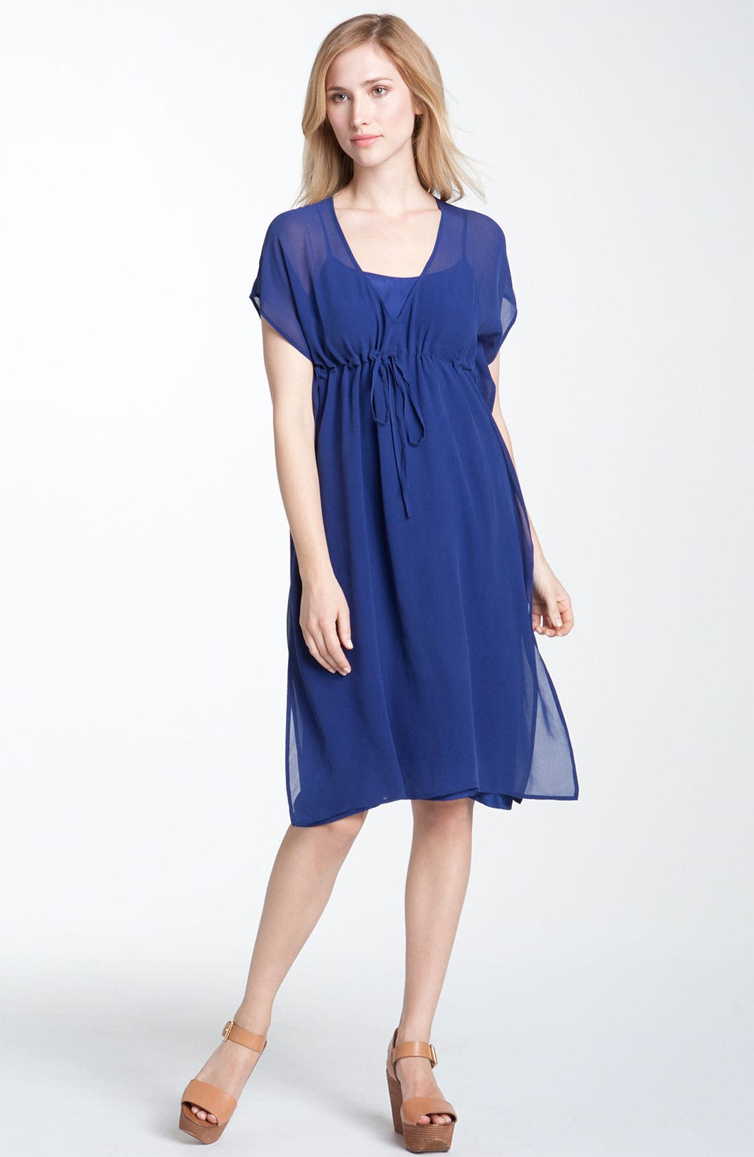 Alternate Image 1 Selected - Eileen Fisher V-Neck Silk Chiffon Dress