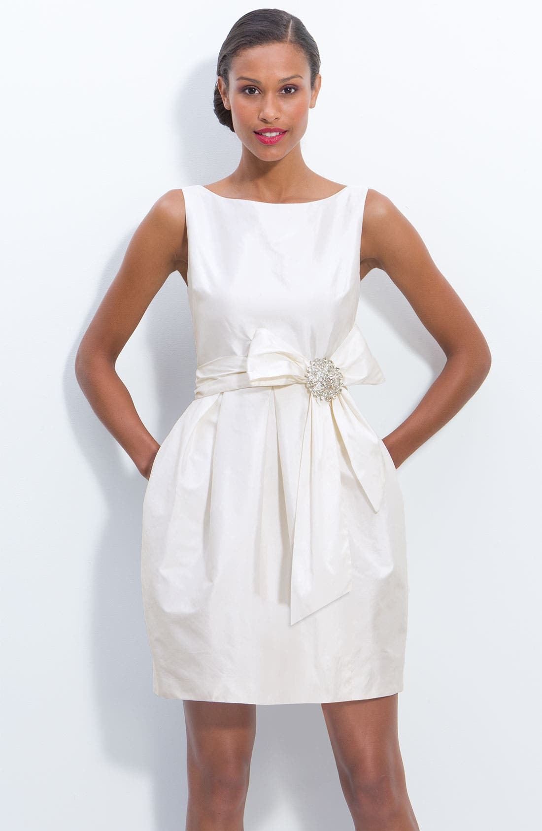 Main Image - Eliza J Jeweled Sleeveless Satin Tulip Dress