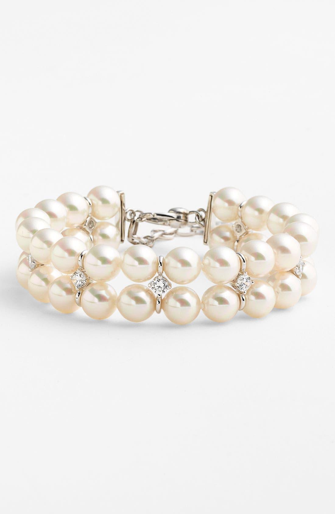 Main Image - Majorica Double Row Pearl & Cubic Zirconia Bracelet