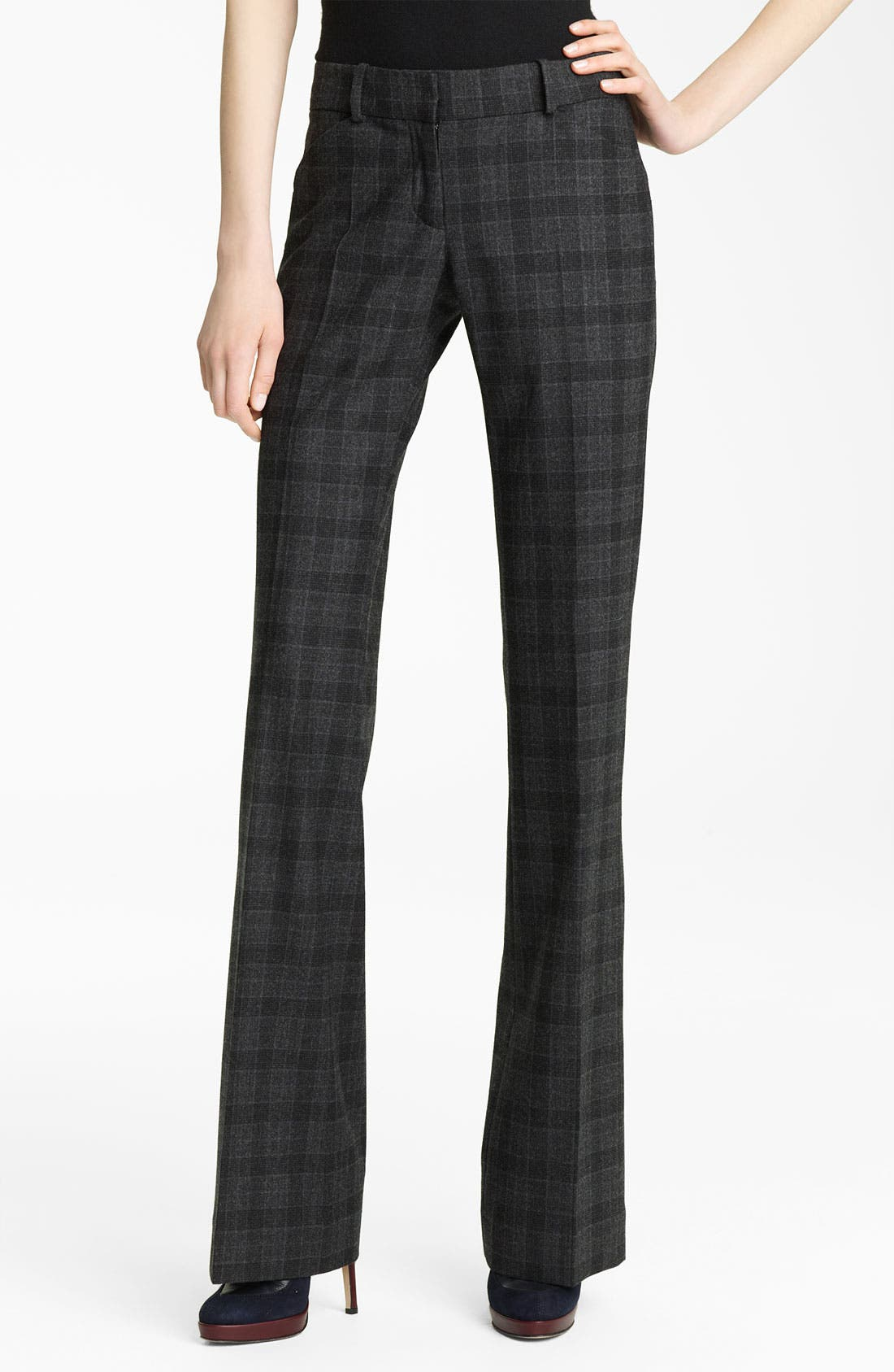 Alternate Image 1 Selected - Oscar de la Renta Plaid Flannel Trousers