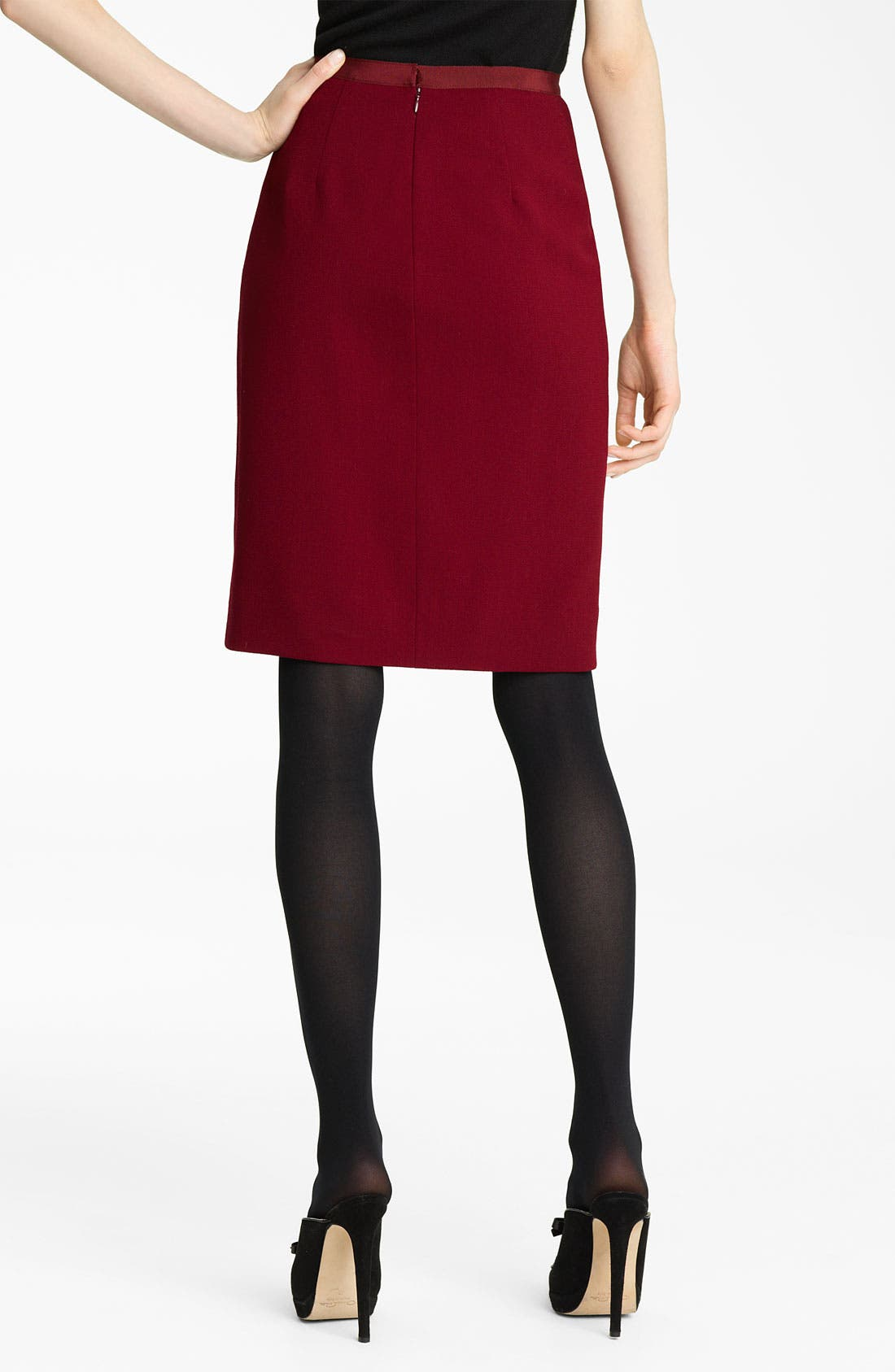 Alternate Image 2  - Oscar de la Renta Slim Wool Crepe Skirt