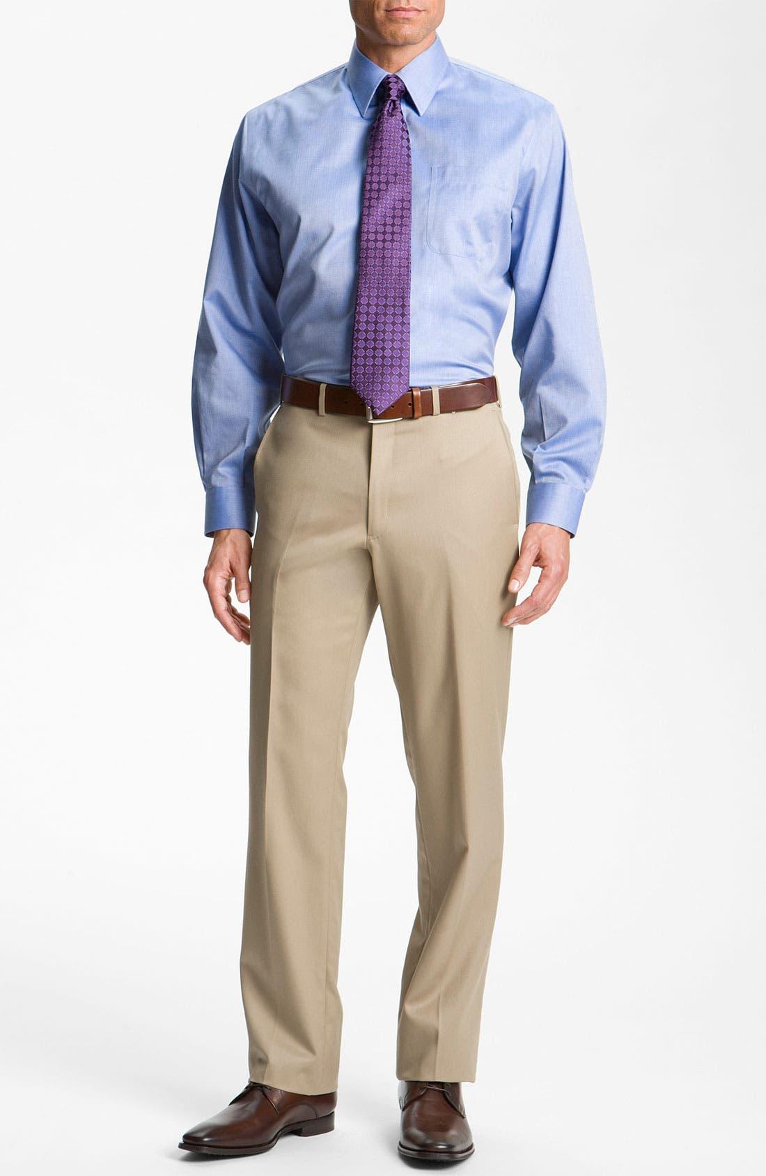 Alternate Image 9  - Nordstrom Men's Shop Smartcare™ Wrinkle Free Traditional Fit Herringbone Dress Shirt