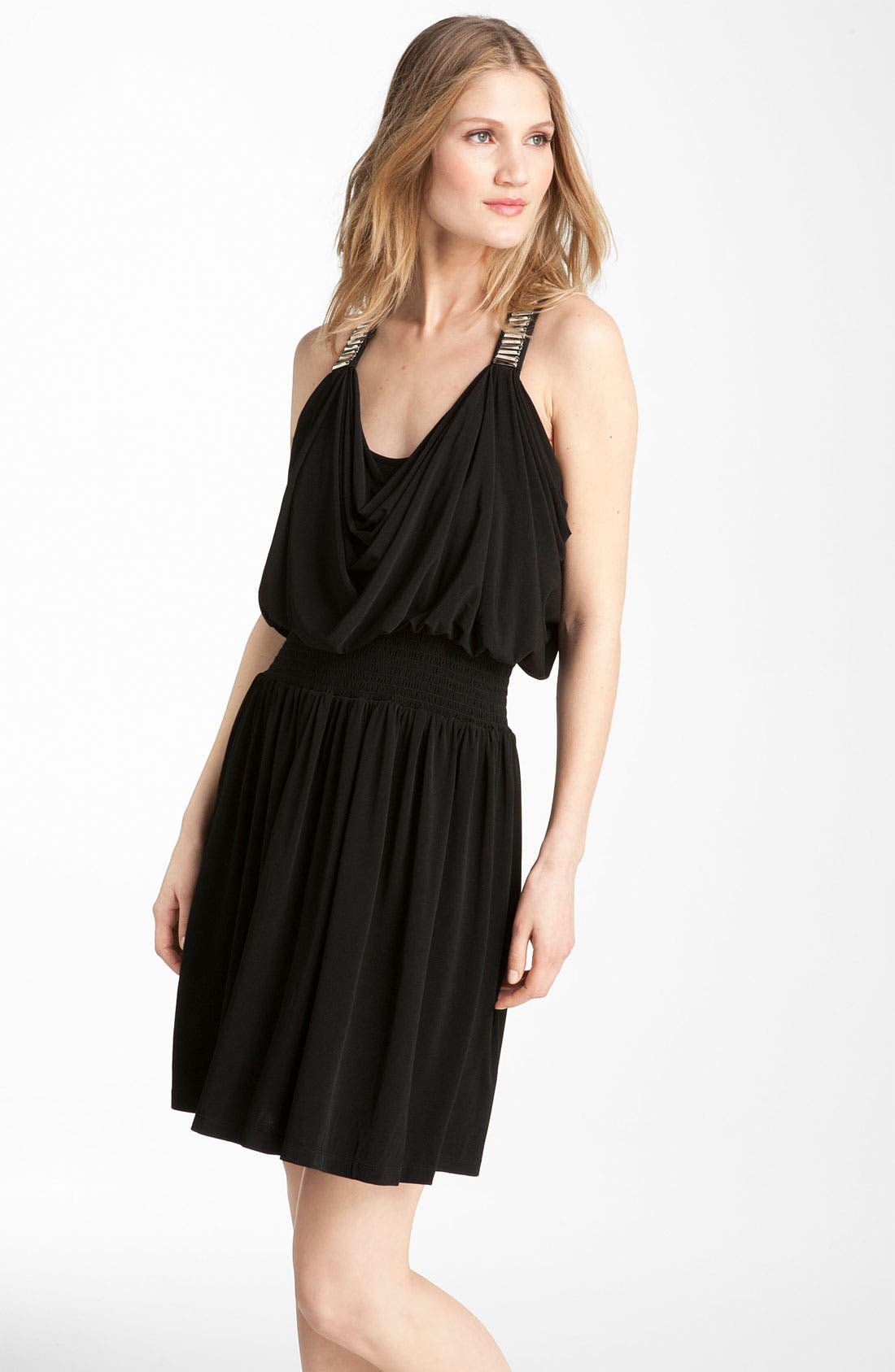 Main Image - Calvin Klein Embellished Draped Jersey Dress