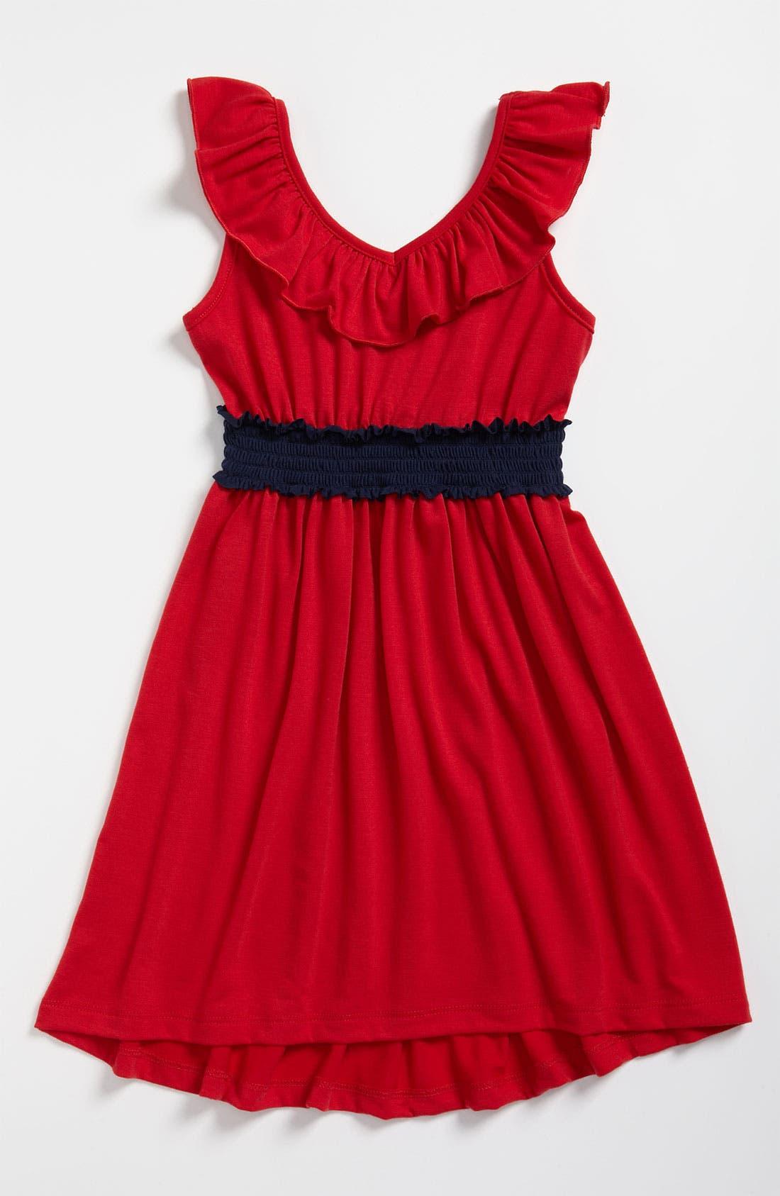 Alternate Image 1 Selected - Zunie Ruffle Neck Dress (Little Girls & Big Girls)