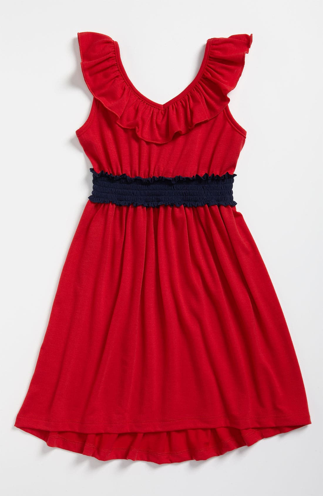 Main Image - Zunie Ruffle Neck Dress (Little Girls & Big Girls)