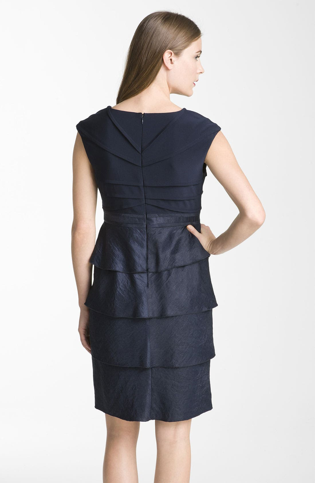 Alternate Image 2  - Adrianna Papell Pleated Mixed Media Sheath Dress