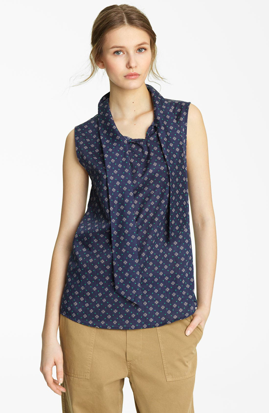 Main Image - Band of Outsiders Tie Neck Print Top