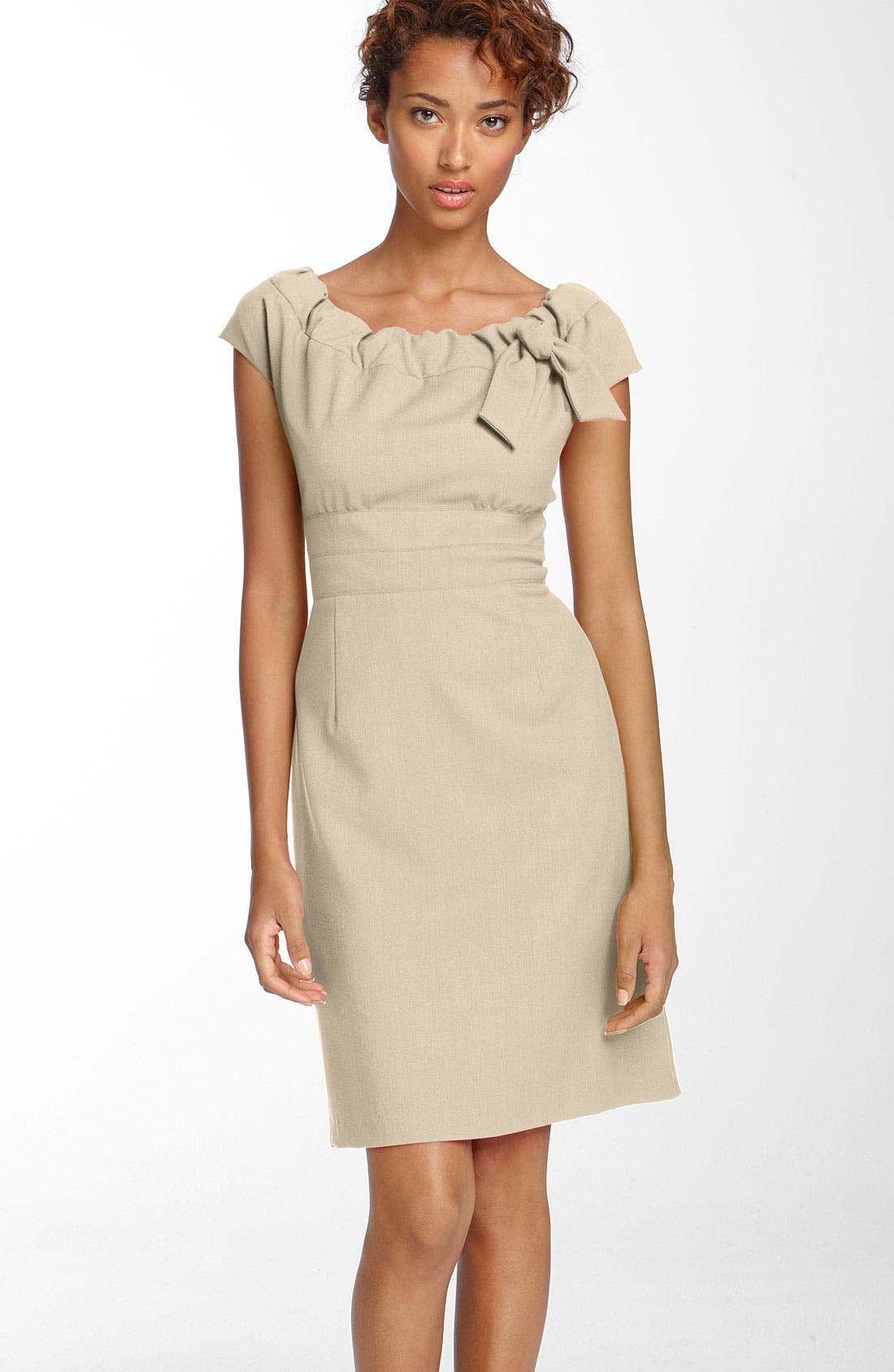 Main Image - Donna Ricco Gathered Neckline Twill Dress