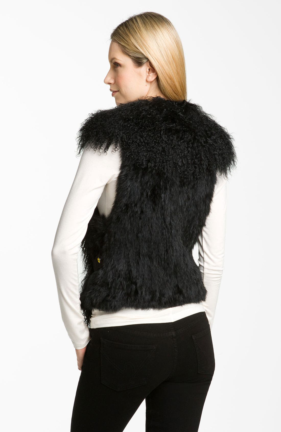 Alternate Image 2  - bebe Genuine Lamb & Rabbit Fur Vest