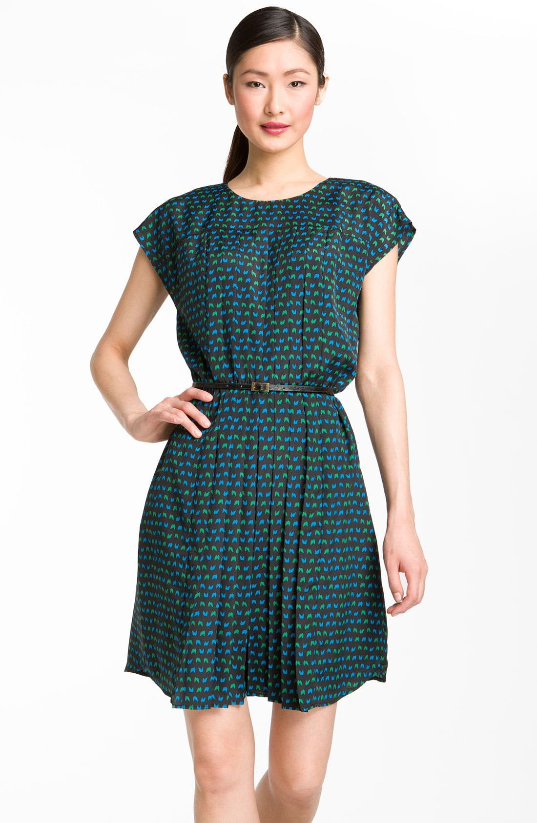 Alternate Image 1 Selected - Taylor Dresses Pleated Crêpe de Chine Fit & Flare Dress