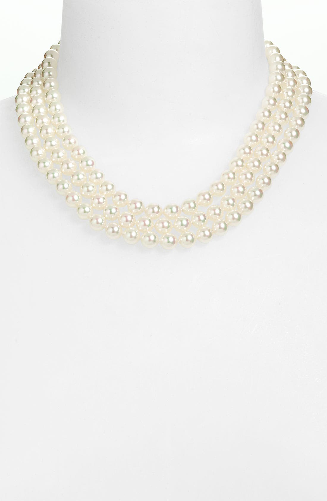 Main Image - Majorica Triple Row Pearl Necklace