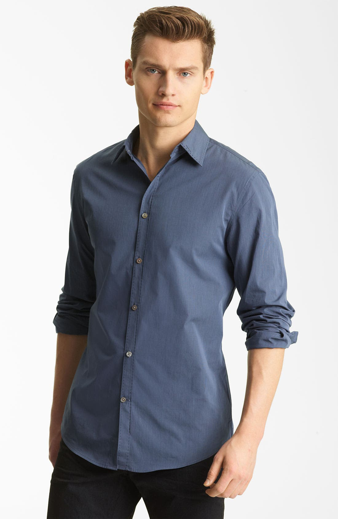 Main Image - John Varvatos Collection Pickstitch Woven Shirt