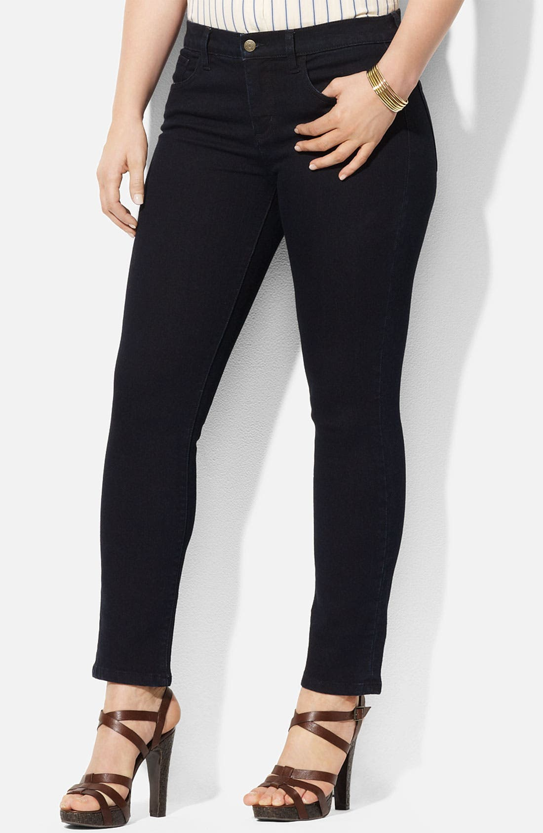 Alternate Image 1 Selected - Lauren Ralph Lauren Straight Leg Ankle Pants (Plus)