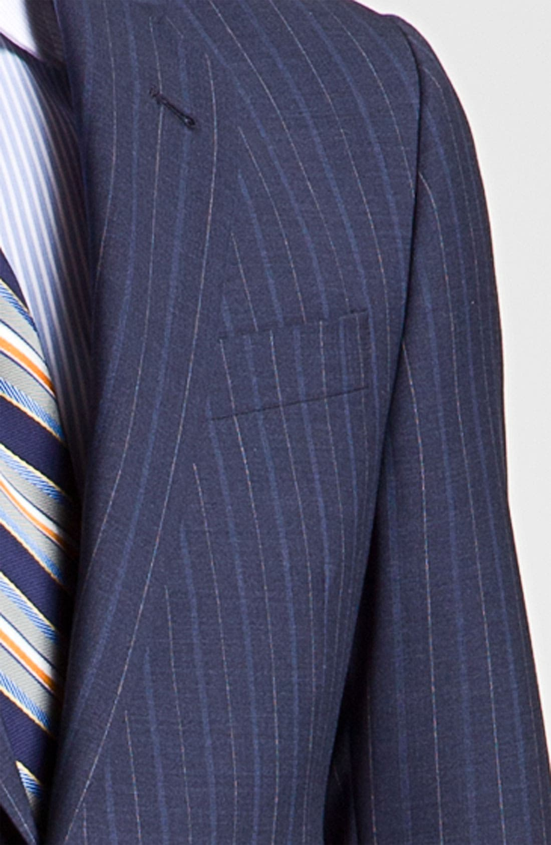 Alternate Image 6  - Robert Talbott Navy Pinstripe Wool Suit