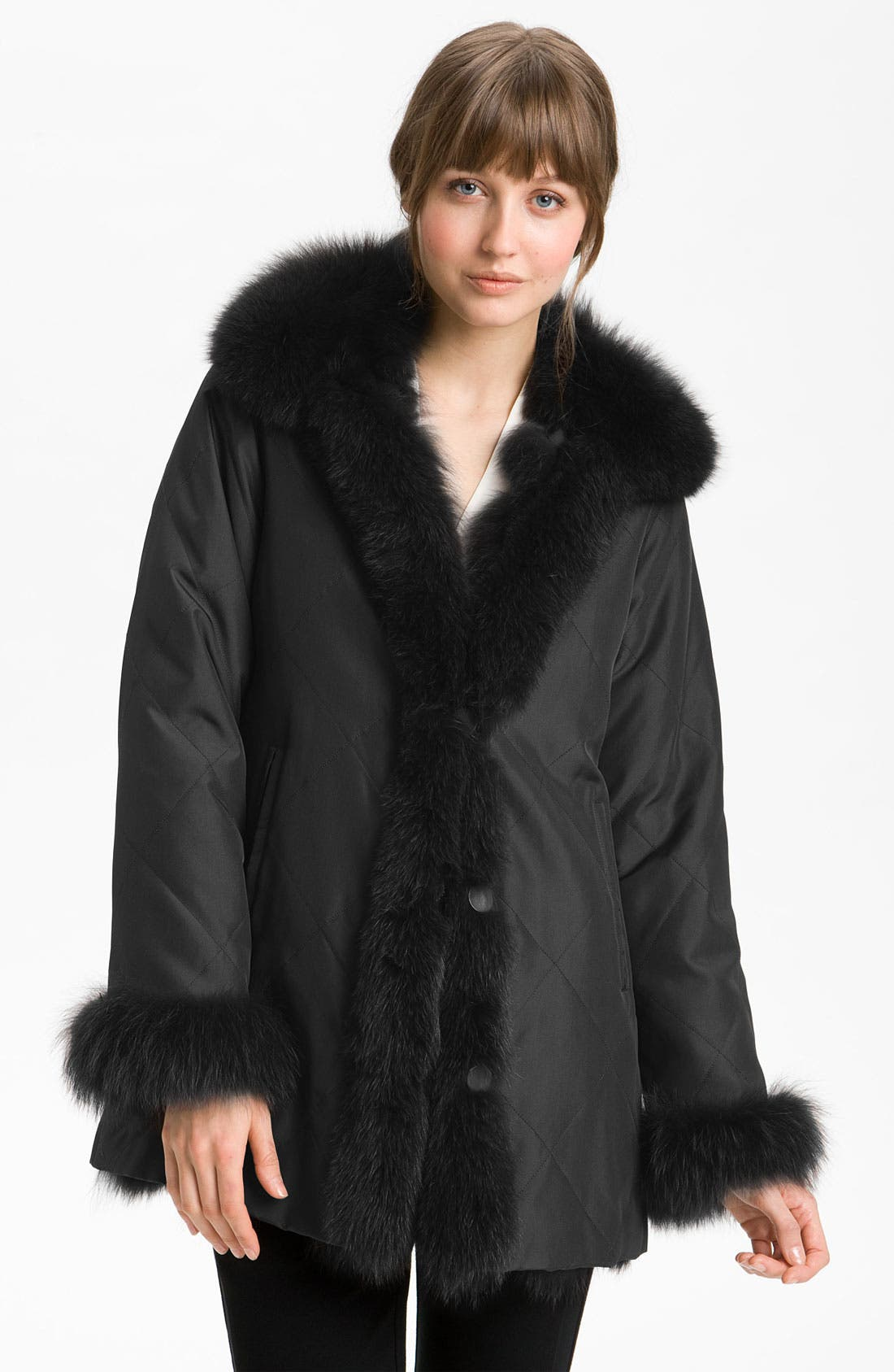 Alternate Image 1 Selected - George Simonton Couture Reversible Fox Fur Coat