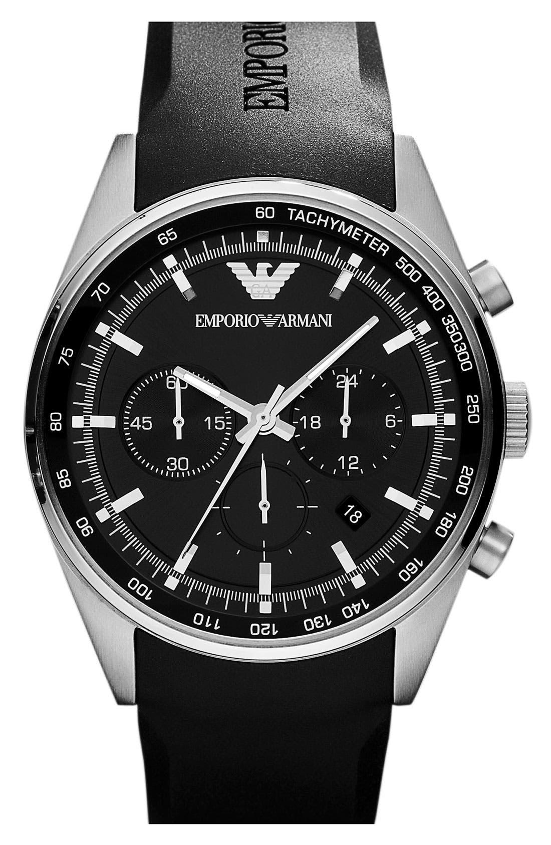 Alternate Image 1 Selected - Emporio Armani Round Rubber Strap Watch