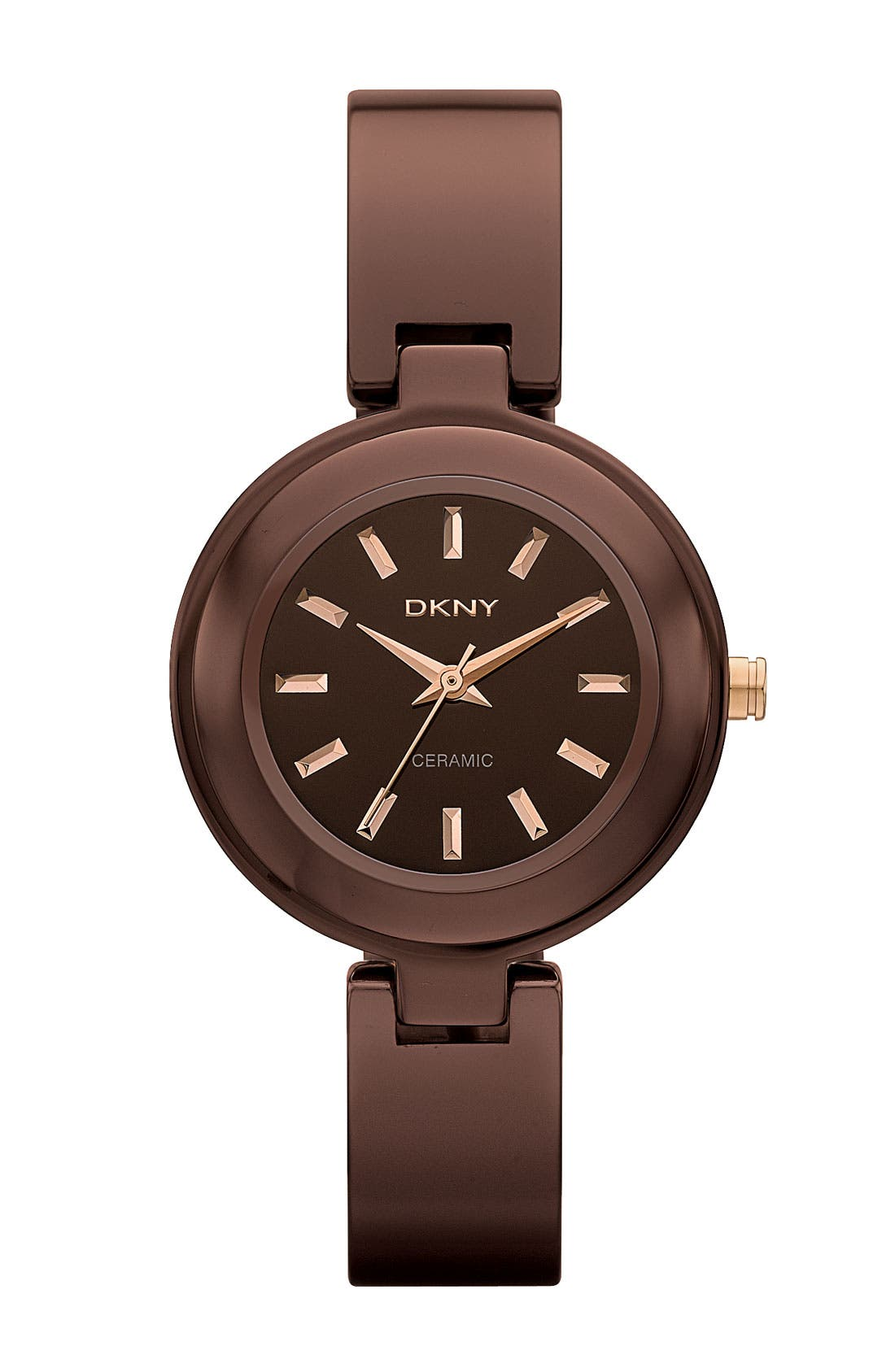 Alternate Image 1 Selected - DKNY Small Round Ceramic Bangle Watch