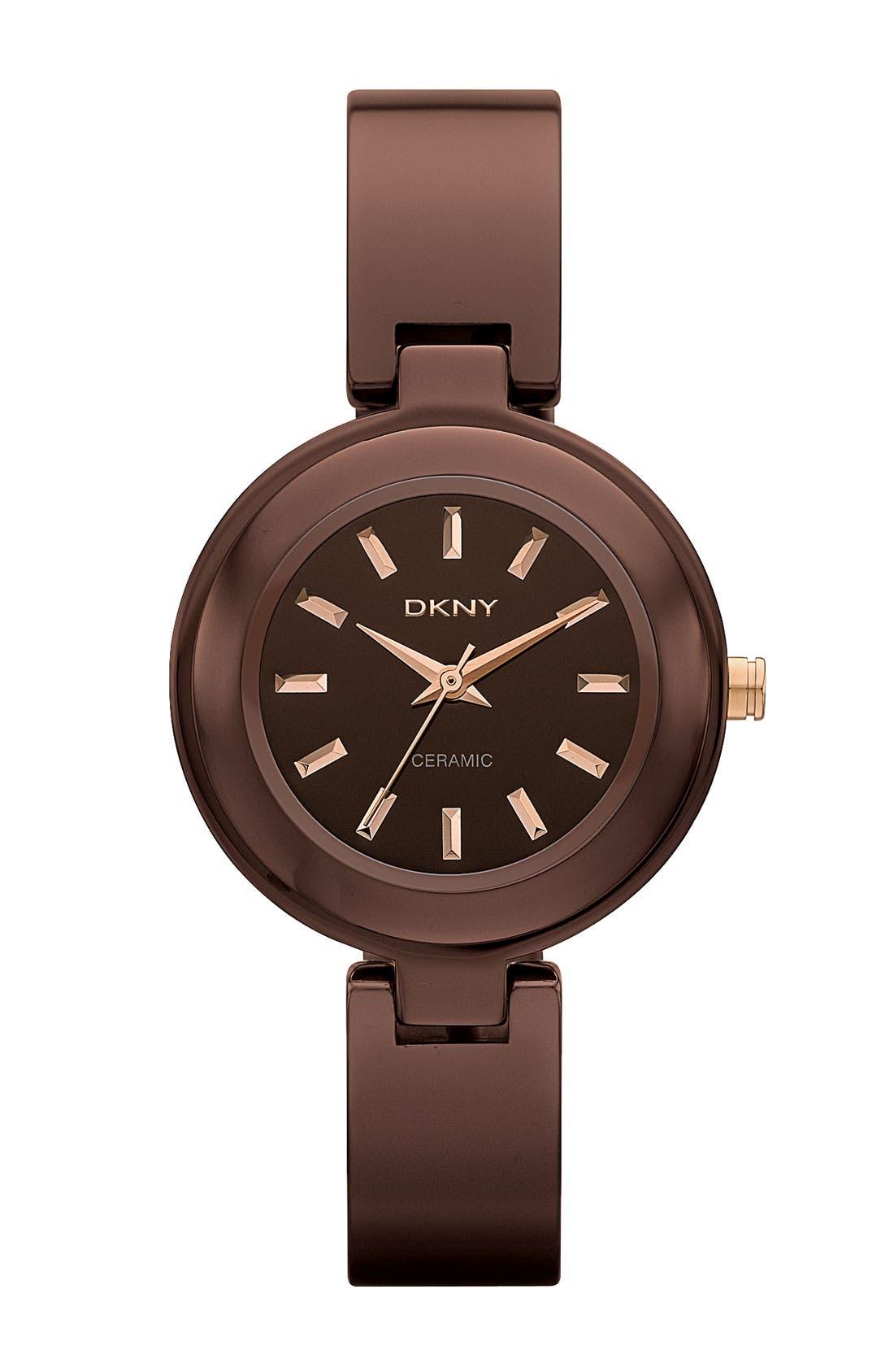 Main Image - DKNY Small Round Ceramic Bangle Watch
