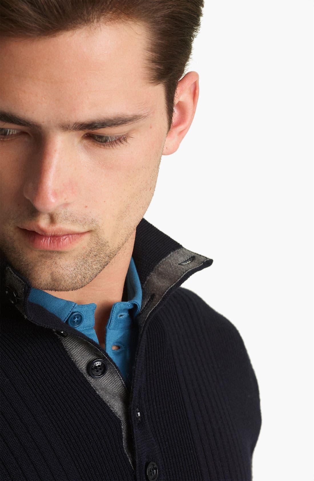 Alternate Image 4  - Armani Collezioni Rib Knit Mock Neck Sweater