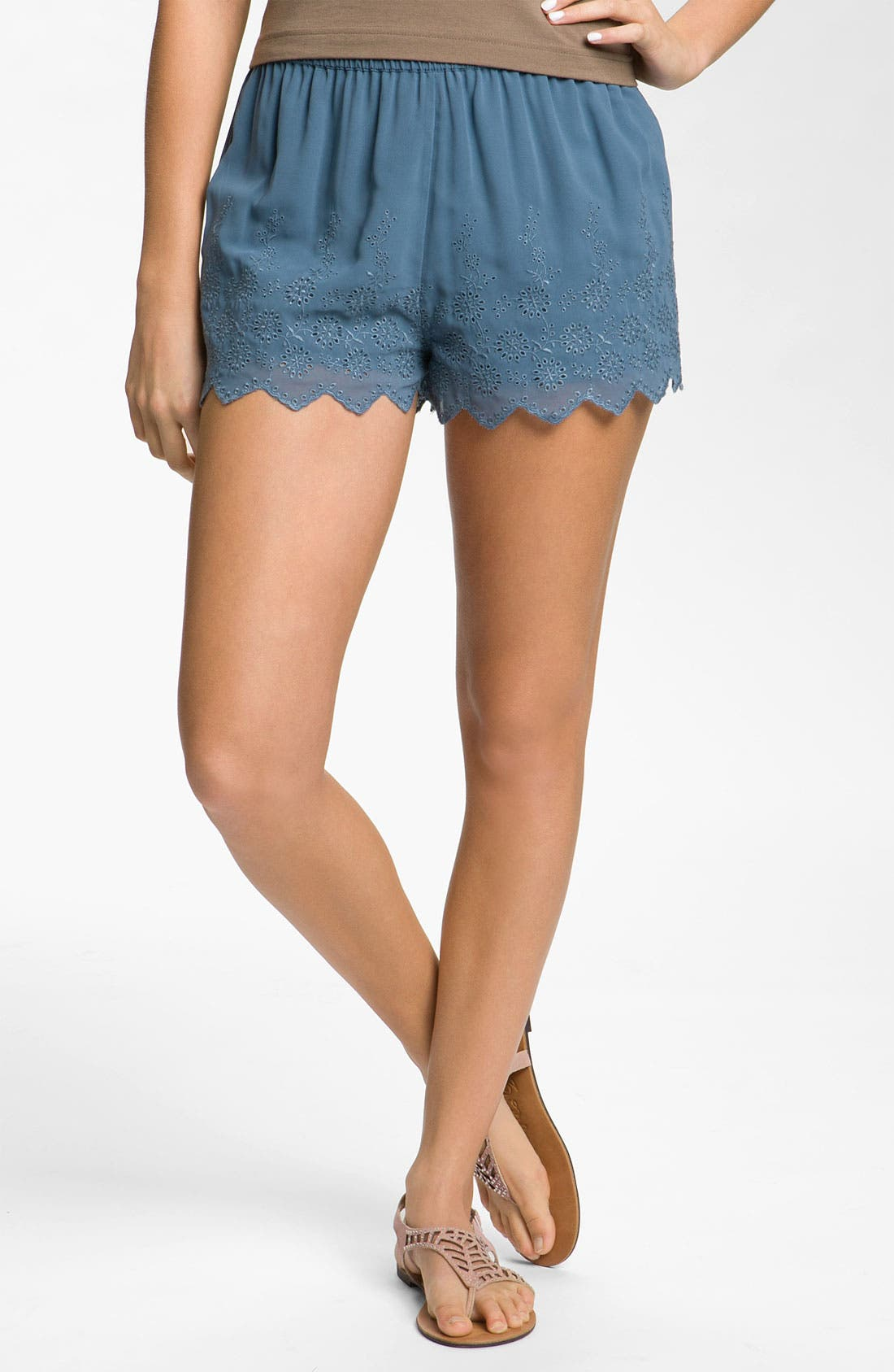 Main Image - Frenchi® Eyelet Shorts (Juniors)