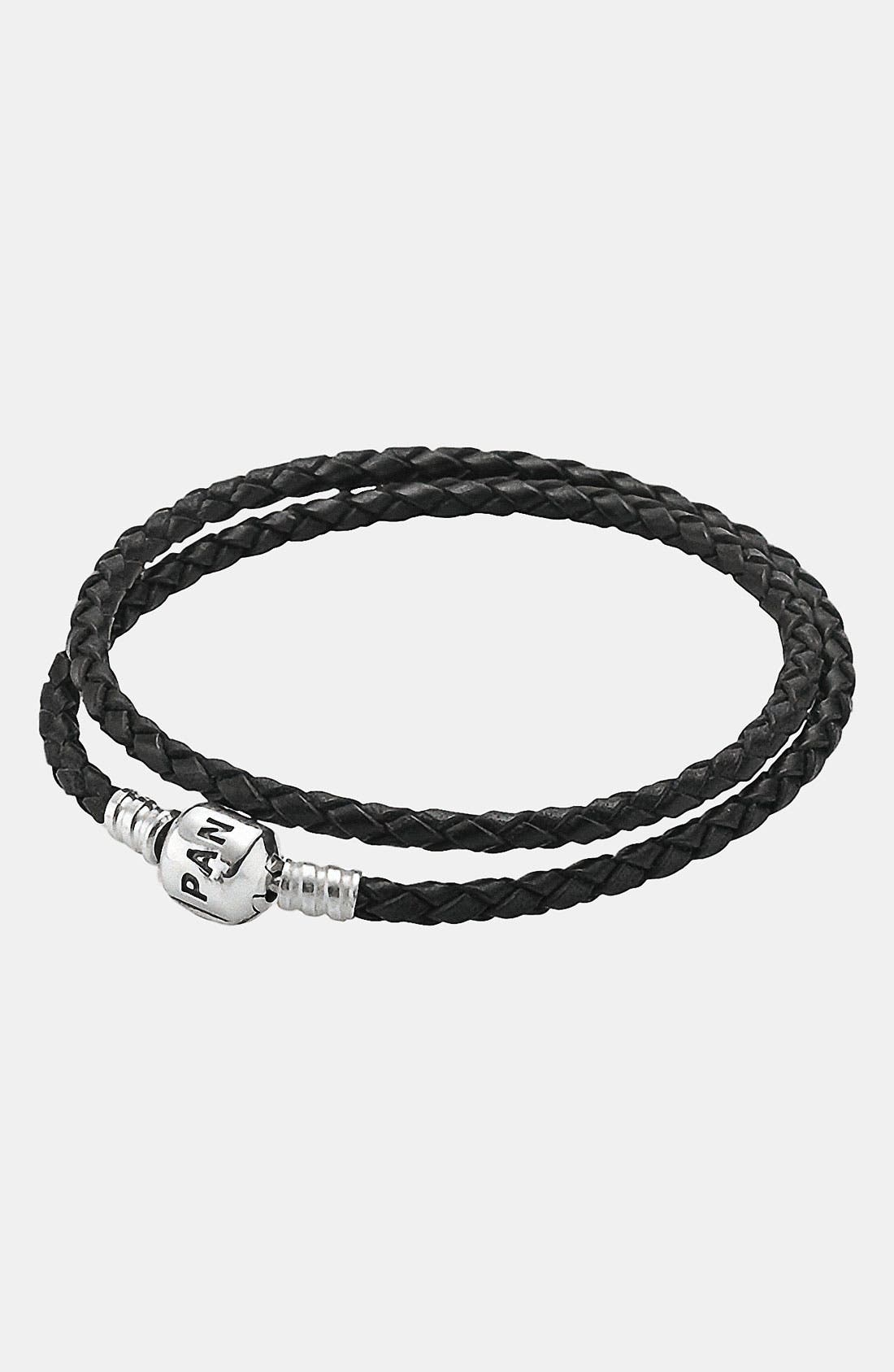 Main Image - PANDORA Leather Wrap Charm Bracelet